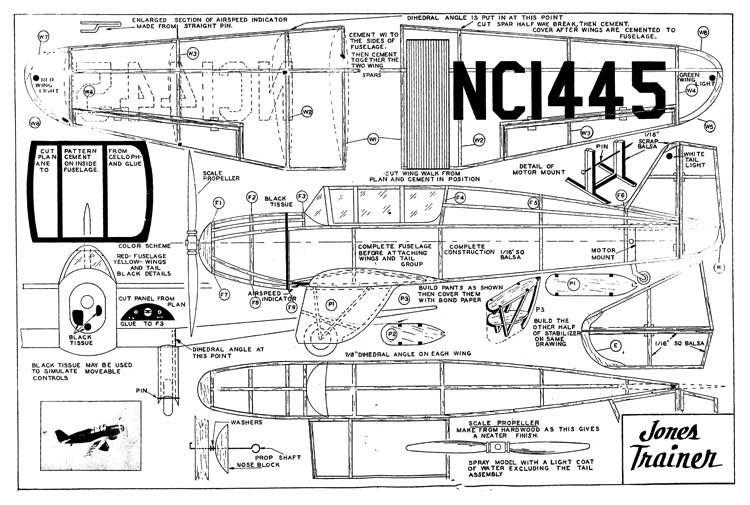 Jones Trainer model airplane plan