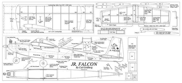 Jr Falcon model airplane plan