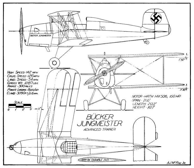 Jungmeister 3v model airplane plan