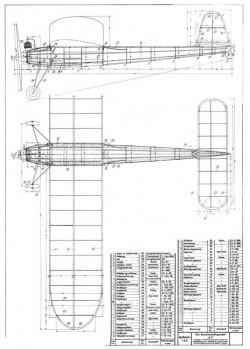 K-3 Benzinmotorflugmodell model airplane plan
