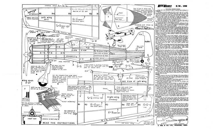 Focke Wulf 190 model airplane plan