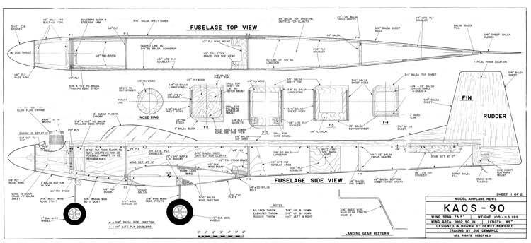 Kaos 90 model airplane plan