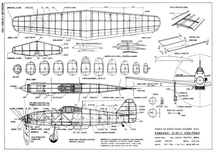 Kawasaki Ki-61 Hien 2 model airplane plan