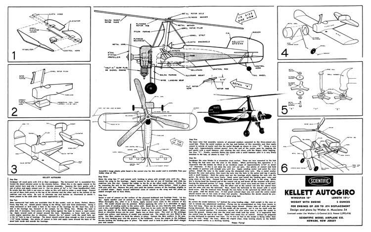 Kellett Autogiro model airplane plan
