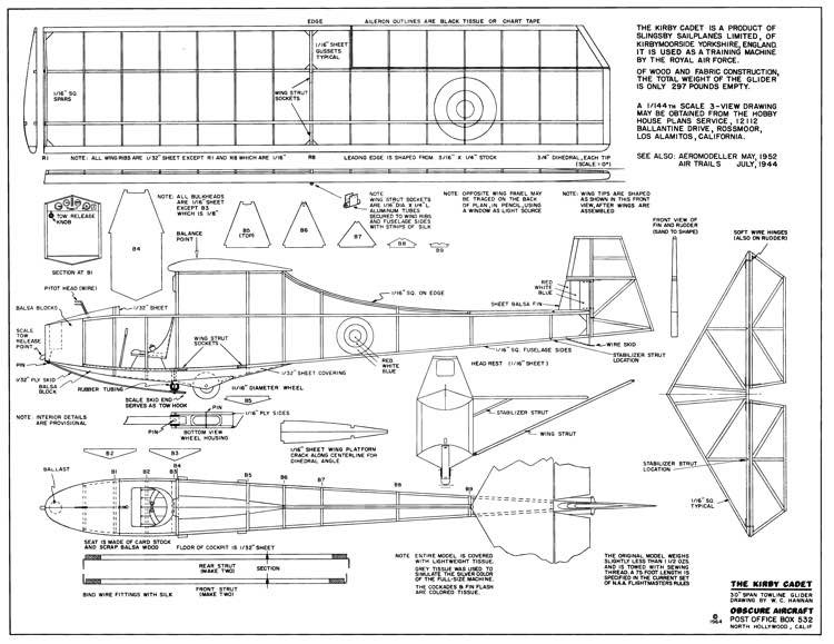 Kirby Cadet-Obscure Aircraft model airplane plan