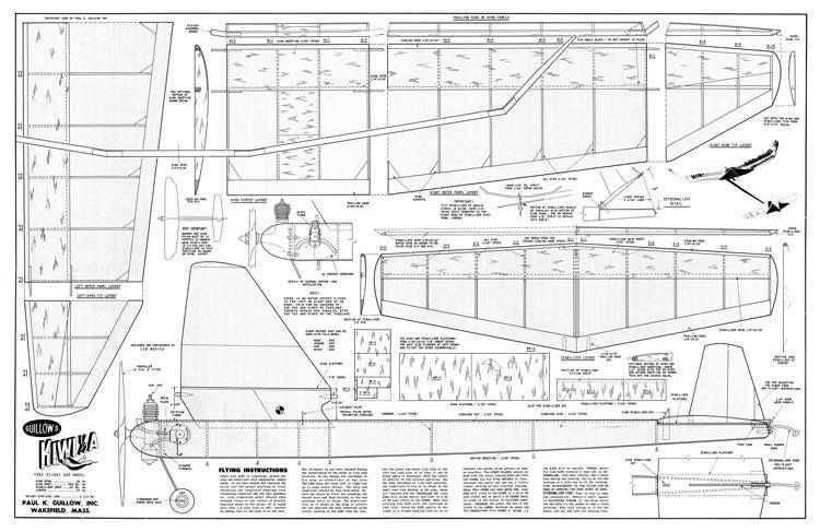Kiwi Half A Guillow model airplane plan