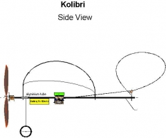 Kolibri Side View model airplane plan