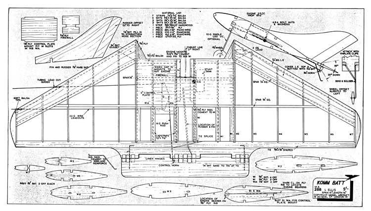 Komm Batt model airplane plan