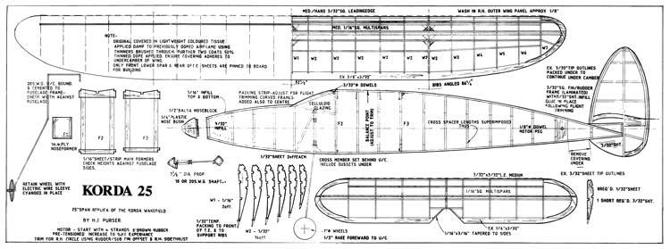 Korda 25 model airplane plan