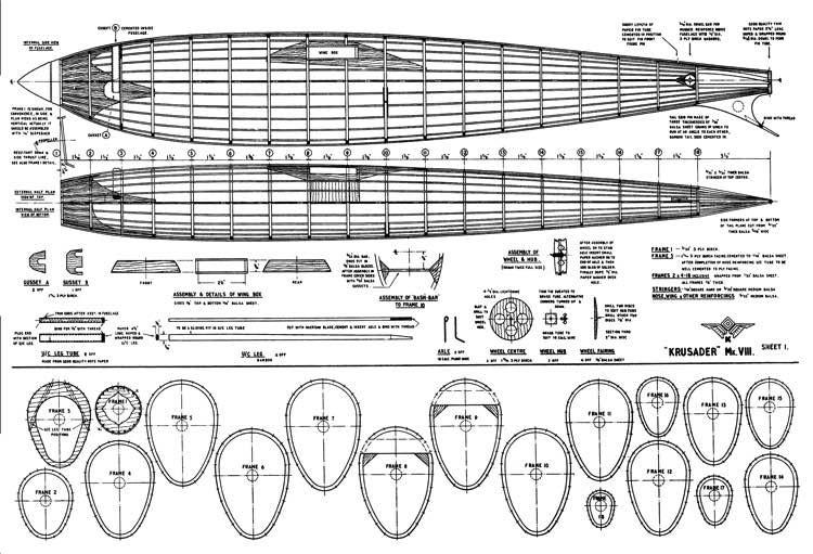 Krusader Mk8 Wakefield model airplane plan