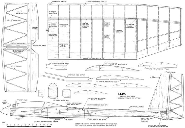 LARS Glider model airplane plan