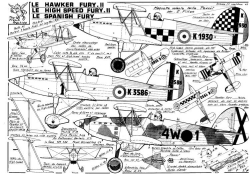 LE HAWKER FURY model airplane plan