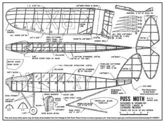Lanzo Puss Moth 2 model airplane plan