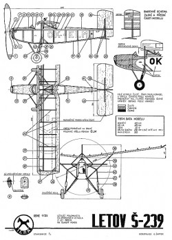 Letov S-239 model airplane plan