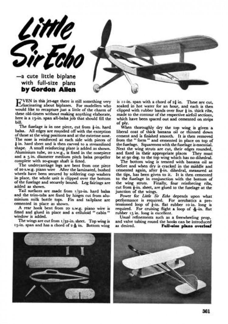 Little Sir Echo model airplane plan