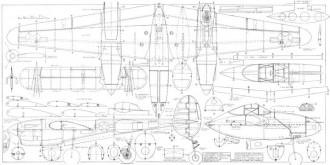 Lockheed P-38J Lightning 66in model airplane plan
