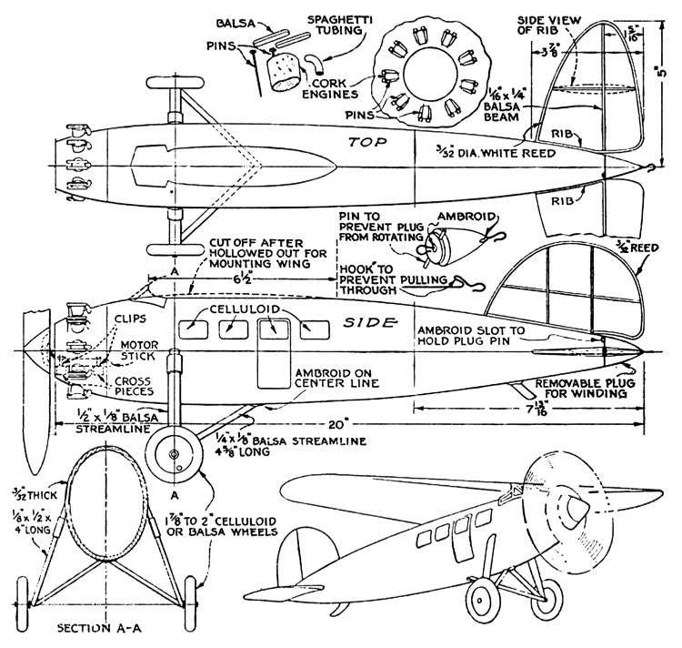 Lockheed Vega 1929 model airplane plan