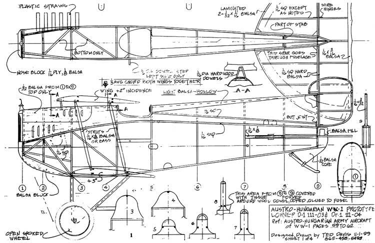 Lohner D1 model airplane plan