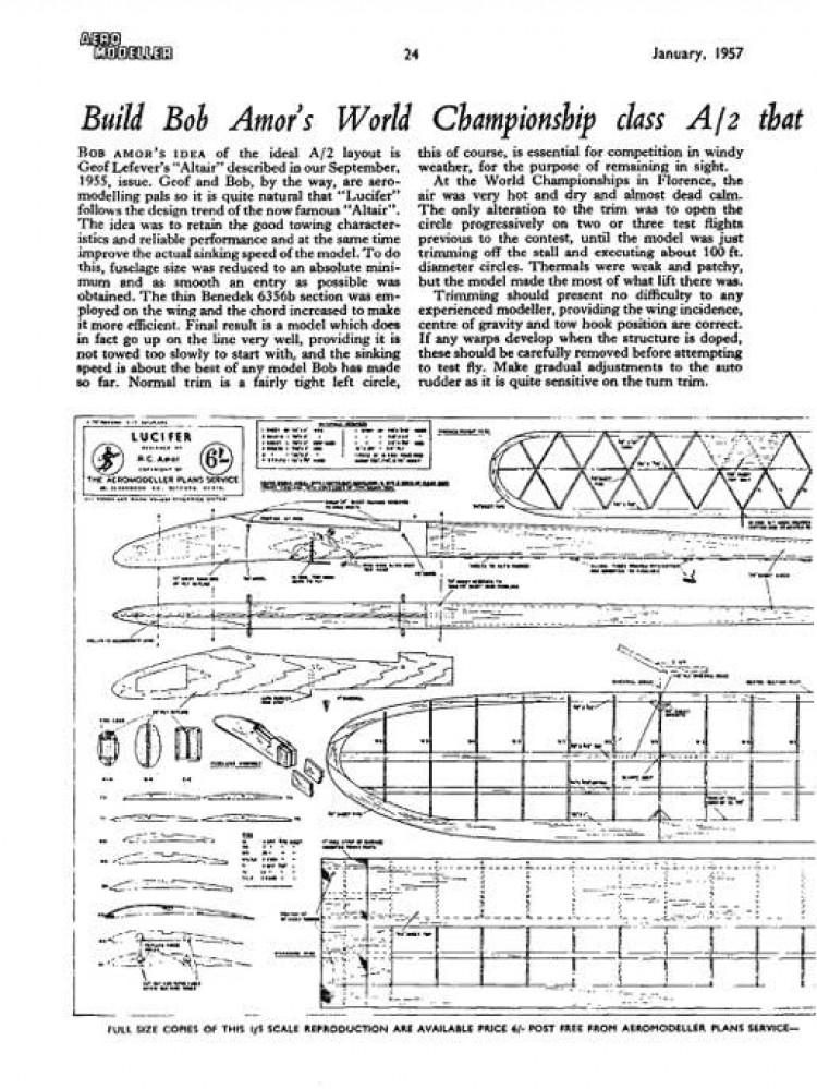 Lucifer model airplane plan