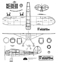 Luscombe Phantom 17in Ott model airplane plan