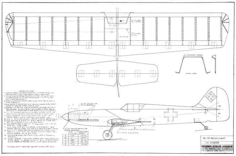 ME 109 Profile CL stunt model airplane plan