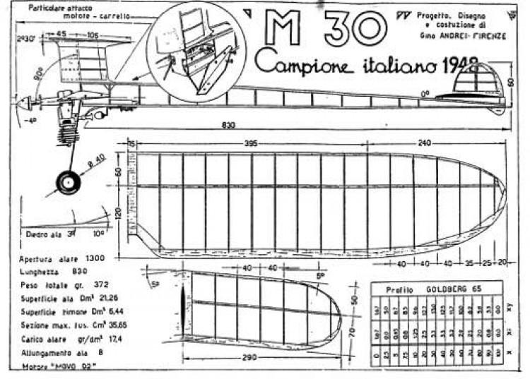 M 30 model airplane plan
