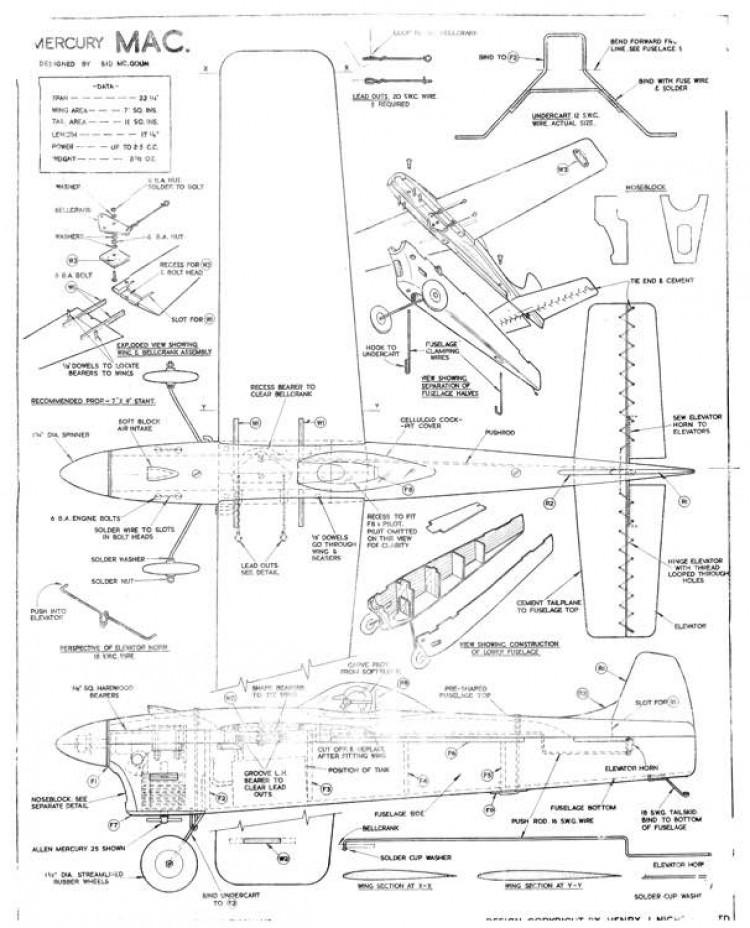 Mac Mercury 22in model airplane plan