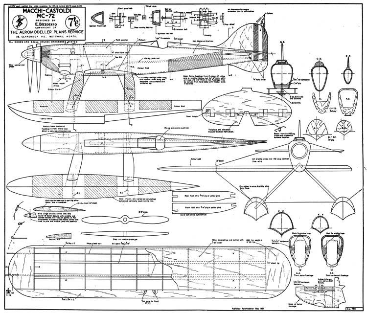 Macchi Castoldi MC-72 model airplane plan