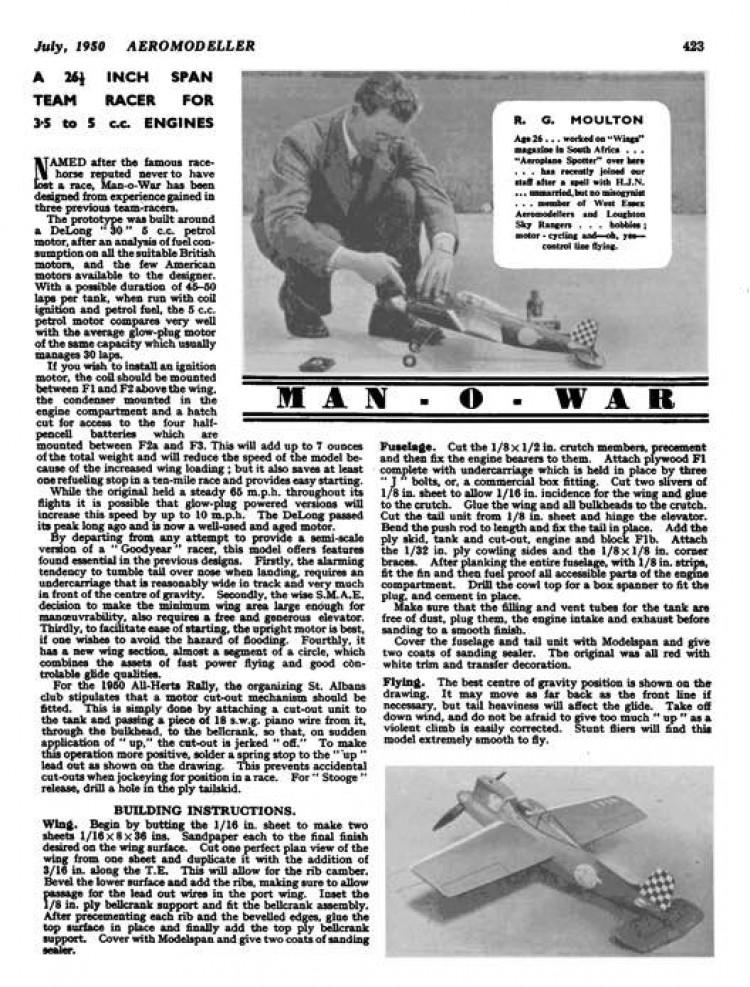 Man-O-War model airplane plan