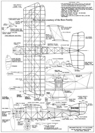 1918 Martinsyde F-4 Buzzard model airplane plan