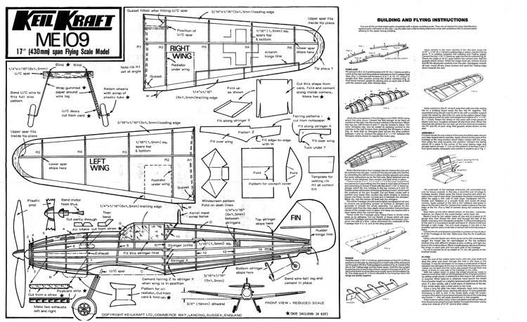 Me109 model airplane plan