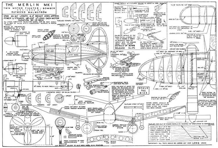 Merlin 1 model airplane plan