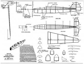 Messerchmitt Tru-Flite 20in model airplane plan