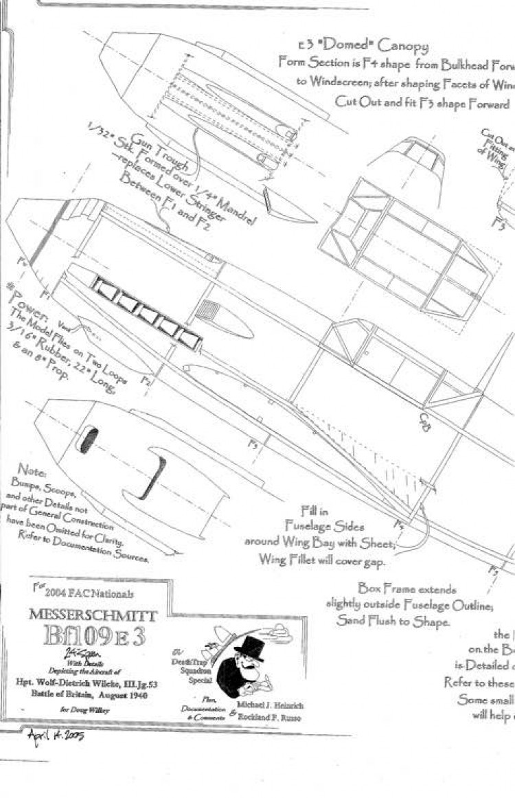 Messerschmitt Bf109 E3 model airplane plan