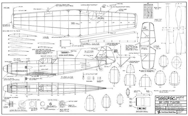 Messerschmitt Bf-109E Fighter model airplane plan