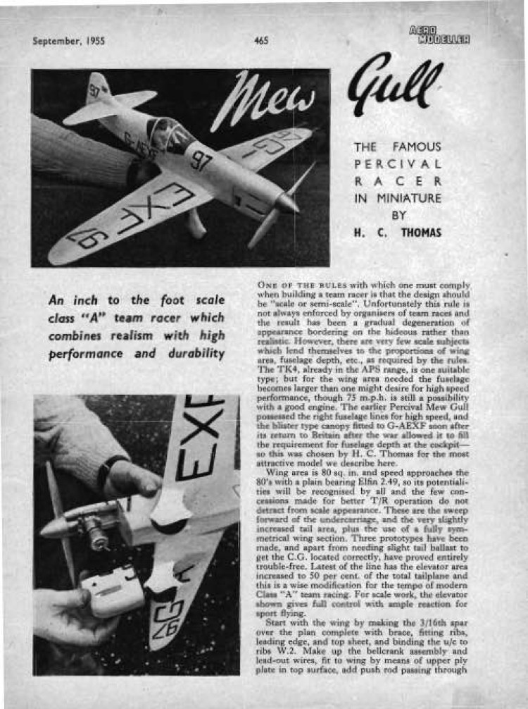 Mew Gull model airplane plan