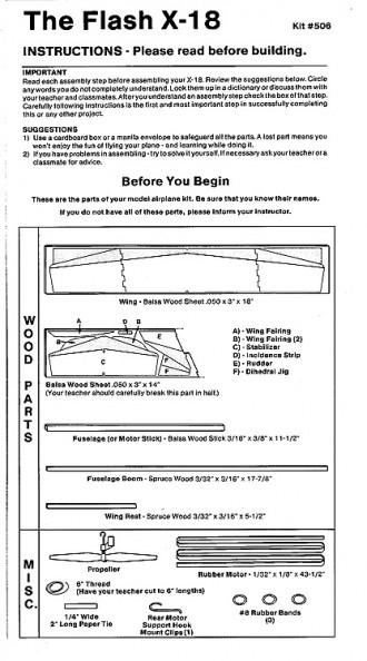 X-18 model airplane plan