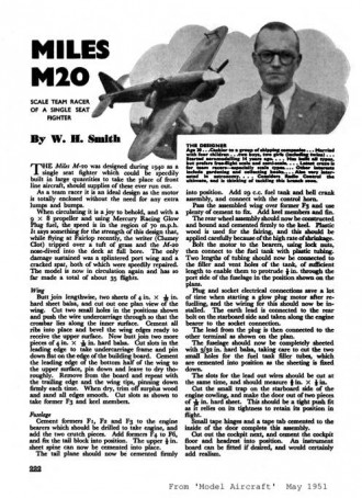 Miles M-20 model airplane plan