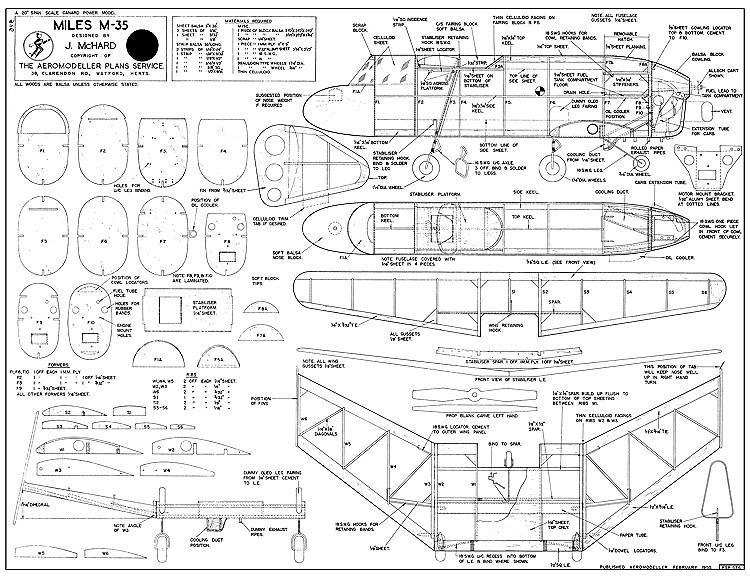 Miles M-35 Plan FSP-576 model airplane plan