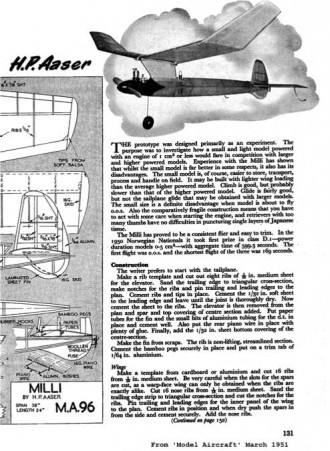 Milli model airplane plan