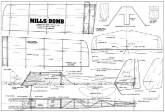 Mills Bomb 35in model airplane plan