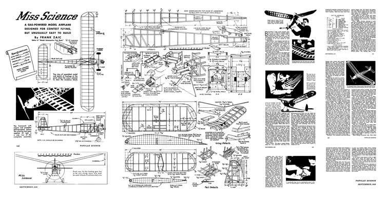 Miss Science model airplane plan