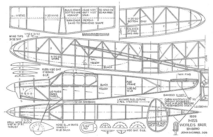 Miss Worlds Fair Embryo model airplane plan