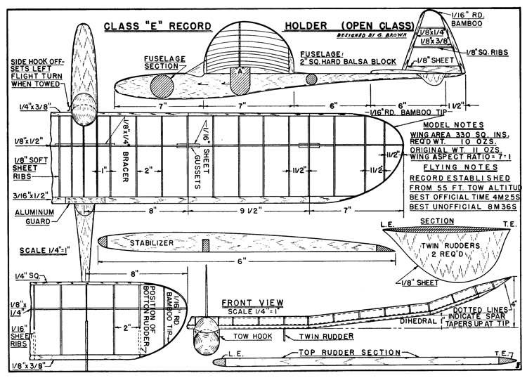 Missing Class E p1 model airplane plan