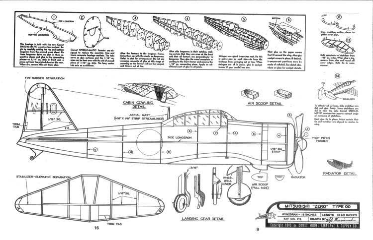 Mitsubishi-Zero-Comet-18in model airplane plan