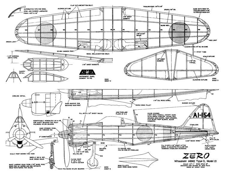 Mitsubishi Zero model airplane plan