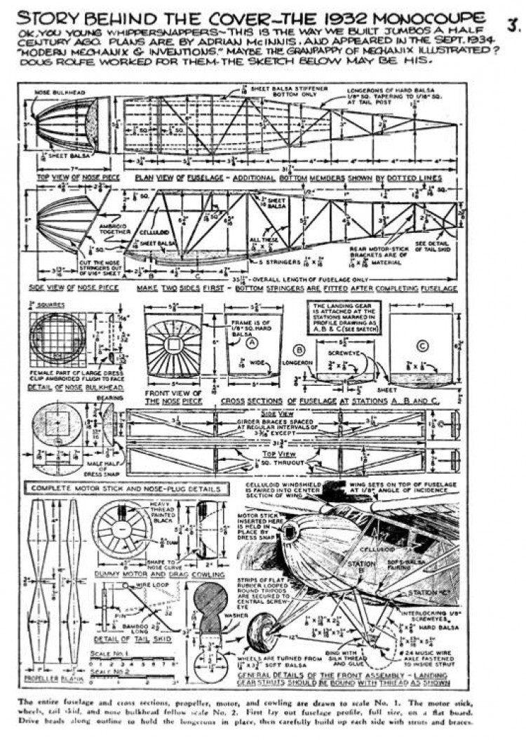 1932 Monocoupe model airplane plan