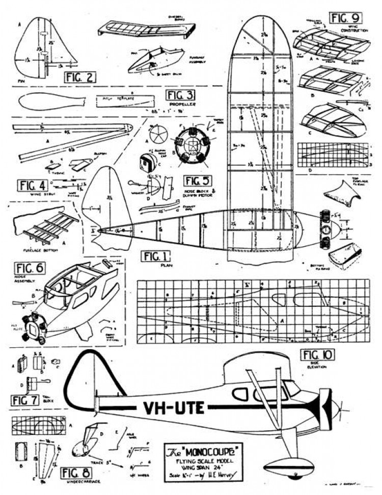 Monocoupe 24in model airplane plan