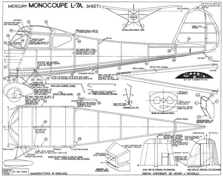 Monocoupe L-7A model airplane plan