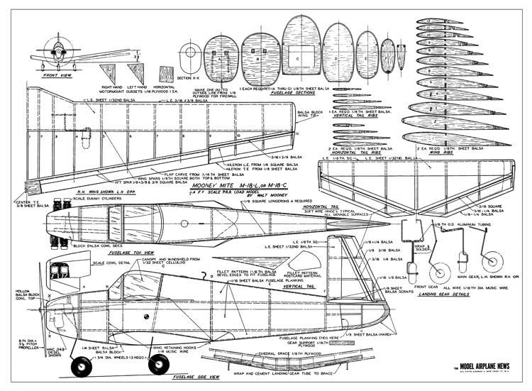 Mooney M-18 Mite model airplane plan